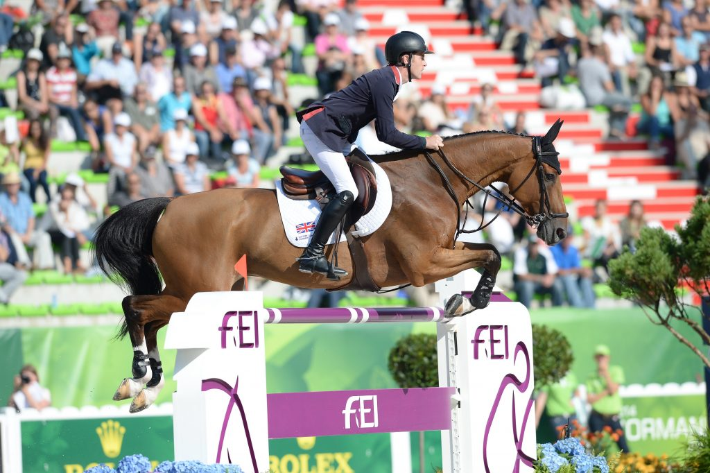 Scott BRASH riding Hello Sanctos GBR during the First Competition at WEG in Stadium D'Ornano Caen, Normandy in France between 23 August to 7 September 2014
